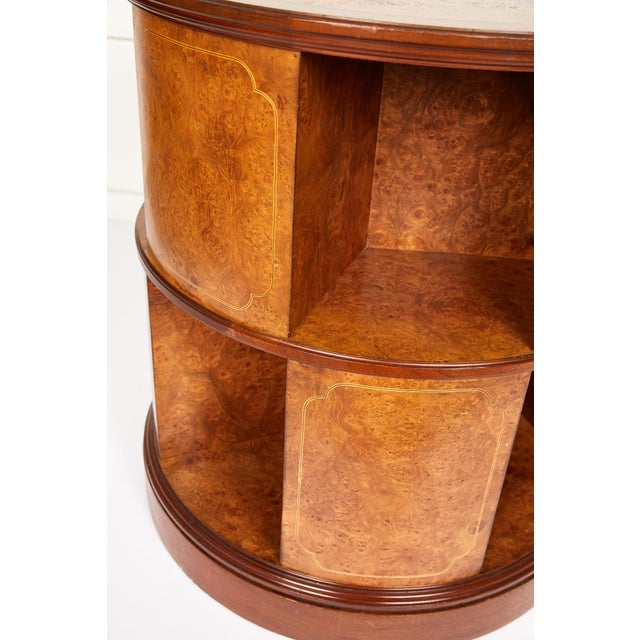 Revolving Circular Library Bookcase of Bird's-Eye Maple For Sale - Image 4 of 12