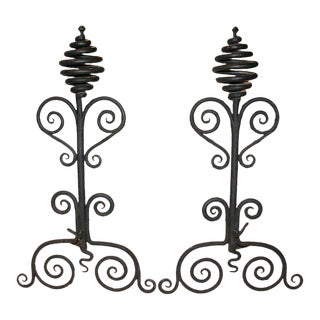 Early 20th Century Hand Wrought Andirons with Scroll and Corkscrew Motif - a Pair For Sale