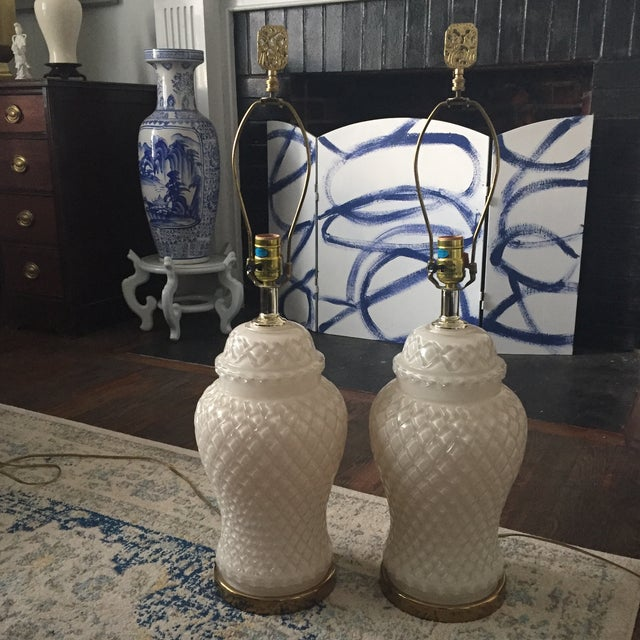 White Glass Quilted Ginger Jar Lamps - A Pair - Image 9 of 11