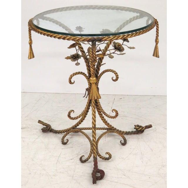 Italian Gilt Iron Rope & Tassel Center Table - Image 4 of 5