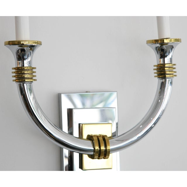 Art Deco Revival Polished Brass and Chrome Wall Sconces - a Pair For Sale In West Palm - Image 6 of 11