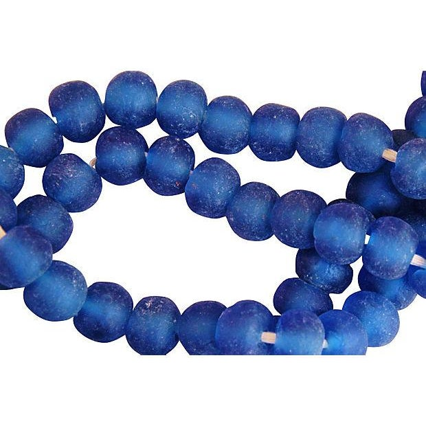 Azure Blue Sea Glass Beads - a Pair For Sale - Image 4 of 4