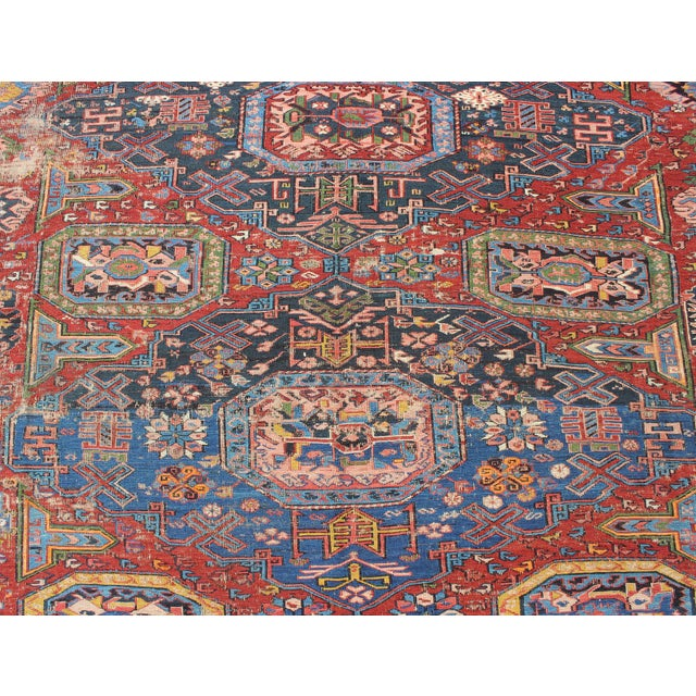 Late 19th Century Keivan Woven Arts, S12-0409, Late 19th Century Antique Caucasian Sumac Rug - 7′3″ × 10′8″ For Sale - Image 5 of 7