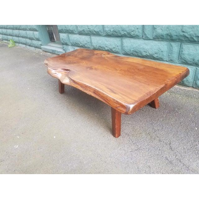 Natural Wood Coffee Table.1960s Organic Modern Hand Crafted Natural Wood Coffee Table