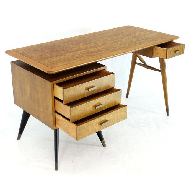 Italian Birch Tiger Maple Exposed Sculptural Legs One Pedestal 4 Drawers Desk For Sale - Image 13 of 13