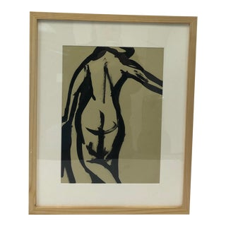 Black and White Nude Ink Painting For Sale