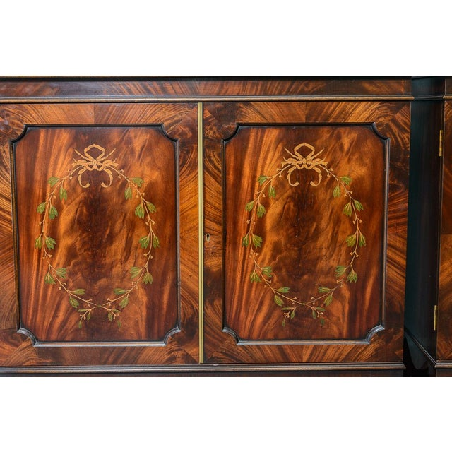 Yellow Regency Style Pair of Inlaid Wood Cabinets With Blown Glass Doors For Sale - Image 8 of 13