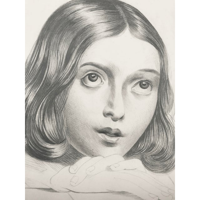 19th C Portrait Drawing of a Young French Girl - Image 3 of 4