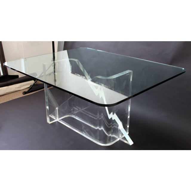 1970s Vintage Gary Gutterman Mid-Century Modern Lucite Glass Dining Table For Sale In Detroit - Image 6 of 10