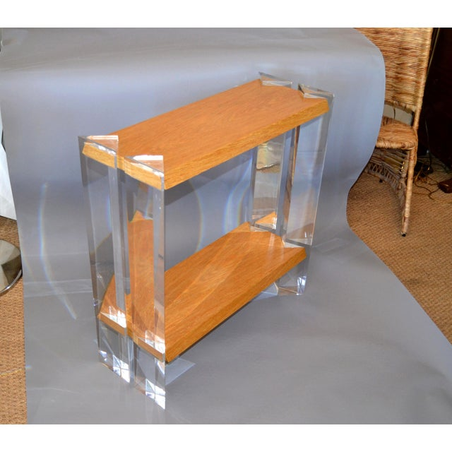 Italian Mid-Century Modern Oak & Acrylic Two Tier Console Table Bookshelf, 1960s For Sale - Image 13 of 13
