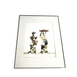 """Vintage Mid-Century Framed """"Tribal African Women"""" Butterfly Wing Art For Sale"""