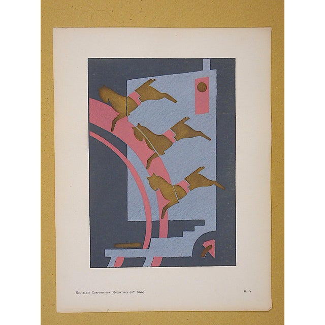 Abstract Vintage Serge Gladky Limited Edition Pochoir Print of Abstracted Horses, Circa 1928 For Sale - Image 3 of 3