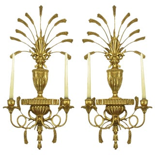 Pair of Italian Tole Gilt Metal and Resin Candelabra Wall Sconces For Sale