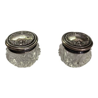 Antique 1910s Sterling and Crystal Vanity Jars - a Pair For Sale