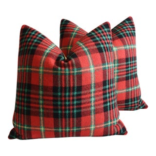 "Scottish Tartan Plaid Wool Feather/Down Pillows 23"" Square - Pair For Sale"