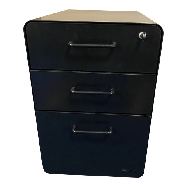 Poppin Black File Cabinet For Sale