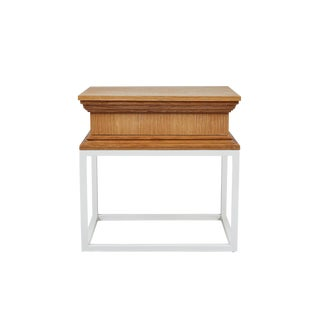 Modern Architectural Side Table in Oak on Metal Stand by Martin and Brockett For Sale