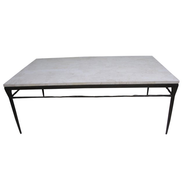 Bernhardt Wrought Iron Natural Stone Coffee Table - Image 1 of 4