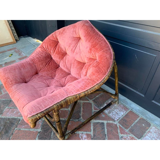 Boho Chic 1950s Vintage Upholstered Salmon Tufted Chair For Sale - Image 3 of 7