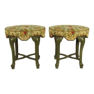 Yale Burge French Painted Stools - a Pair