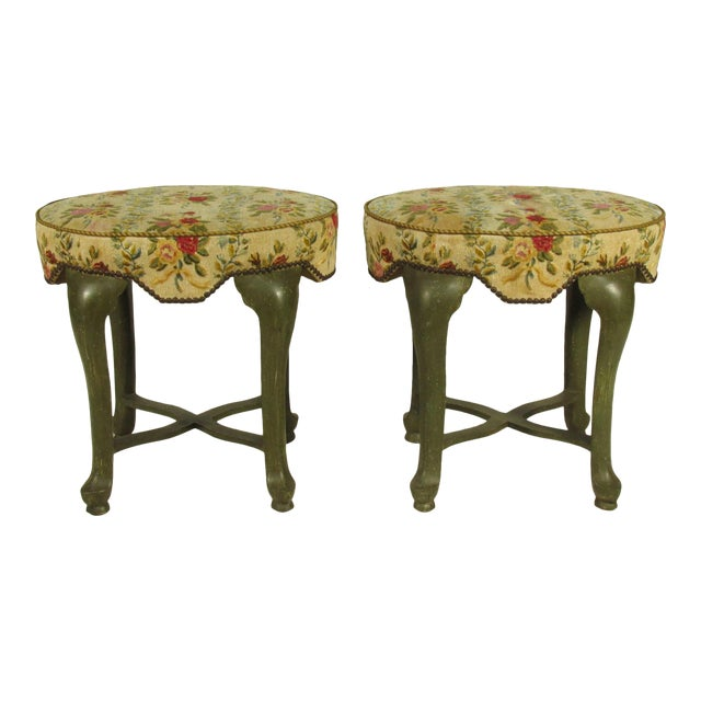 Yale Burge French Painted Stools - a Pair For Sale