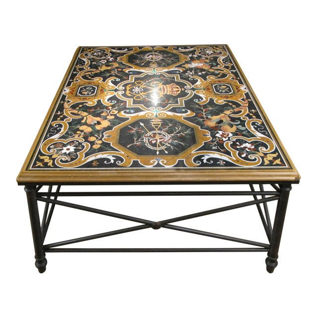 Italian Pietra Dura Inlaid Stone Table For Sale