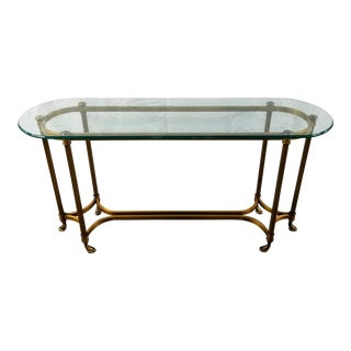 Mid Century Regency Labarge Brass & Glass Console Table For Sale