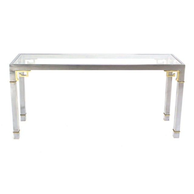 Chrome Brass & Glass Console Table by Mastercraft For Sale In New York - Image 6 of 9