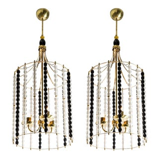 "Pair of mid century modern brass ""bird cage"" 3-light lanterns w/Murano black/clear glass beads, A. Barbini style"