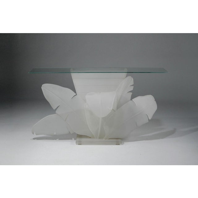 White Luminous Electrified Frosted Lucite Palm Motife Console Table For Sale - Image 8 of 13