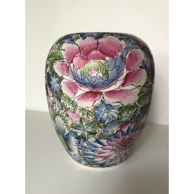 Ceramic Colorful Chinoiserie Floral Ginger Jar/Vase With Gold Accents For Sale - Image 7 of 7