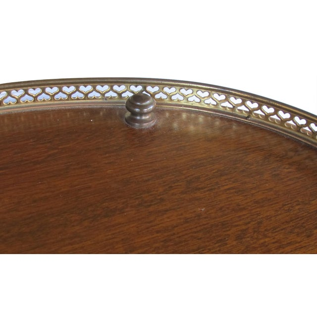 A handsome English 3-tier solid mahogany oval etager with brass mounts For Sale - Image 4 of 5