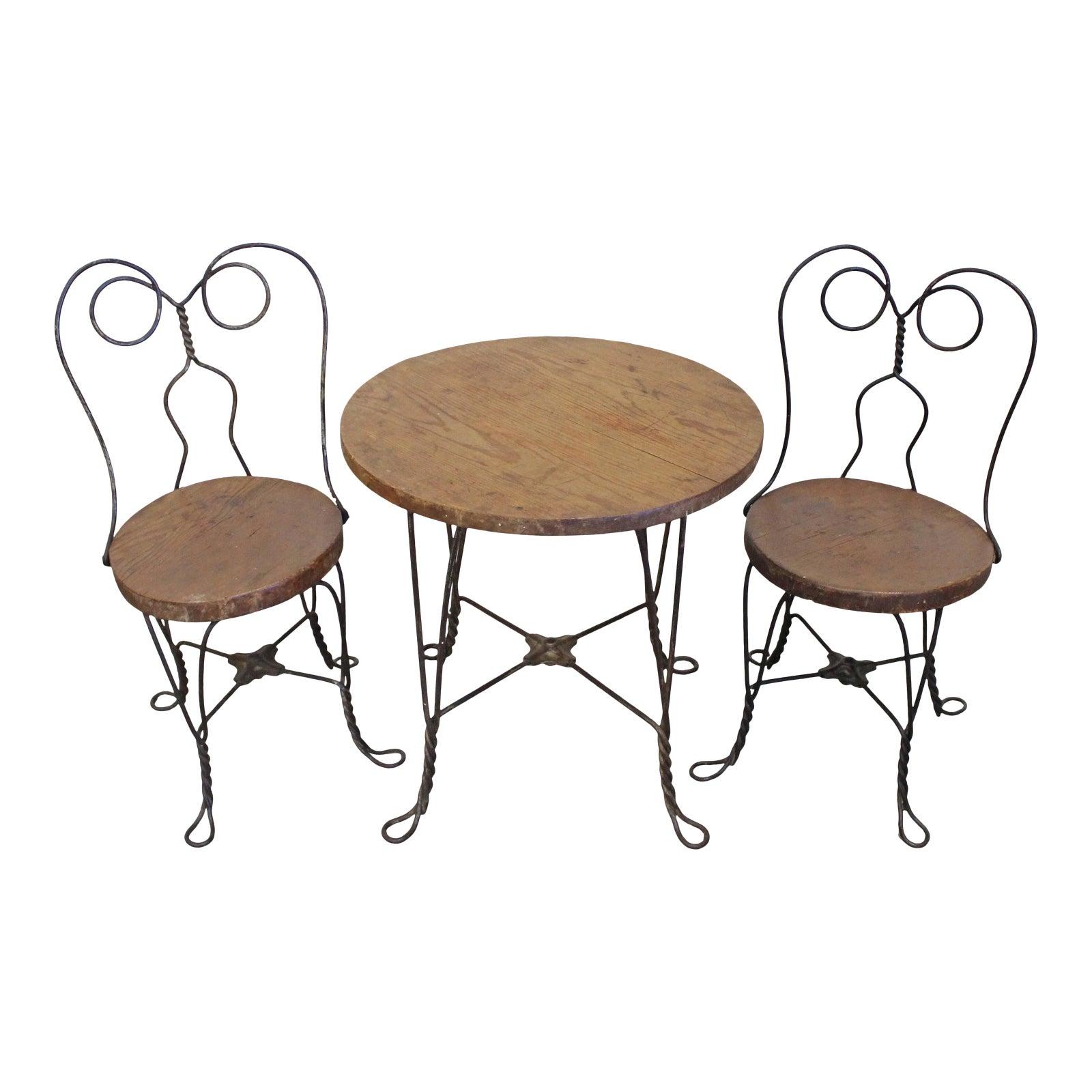 Vintage Primitive Ice Cream Parlor Children S Table Chair Set Chairish