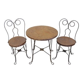 Vintage Primitive Ice Cream Parlor Children's Table & Chair Set For Sale