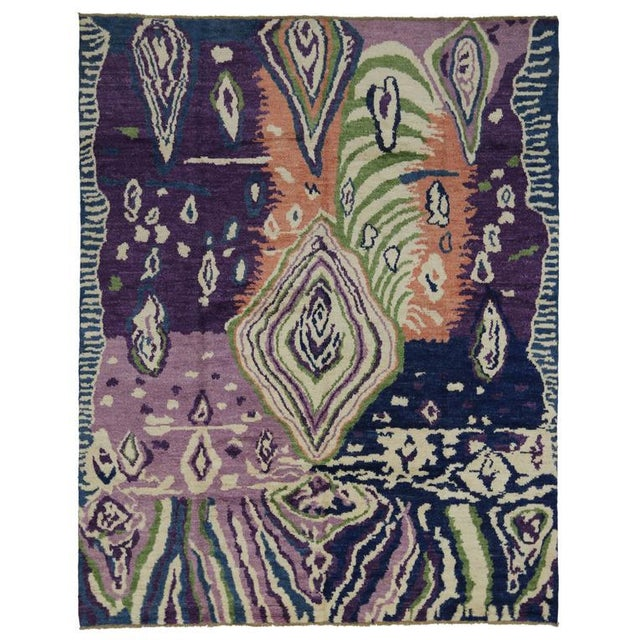 New Contemporary Moroccan Style Area Rug With Postmodern Style and Abstract Memphis Design For Sale In Dallas - Image 6 of 7