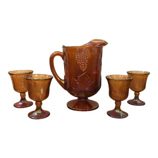 Antique Carnival Glass Pitcher & Glasses - Set of 5 For Sale