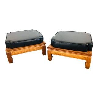 Vintage Wood & Black Vinyl Stacking Footstool / Ottomans, Pair For Sale