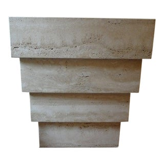 Italian Angelo Mangiarotti Style Stepped Travertine Pedestal or Table Base For Sale