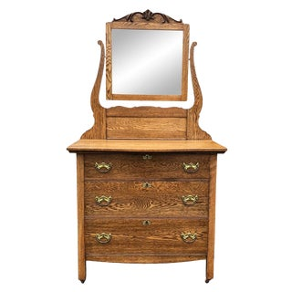 20th Century Victorian Oak Princess Mirrored Dresser For Sale