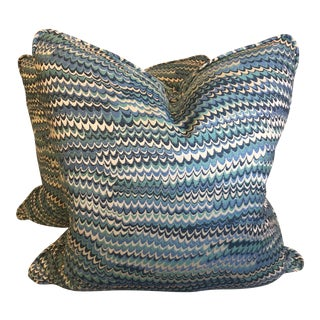 "Blue Wave 22"" Pillows-A Pair"