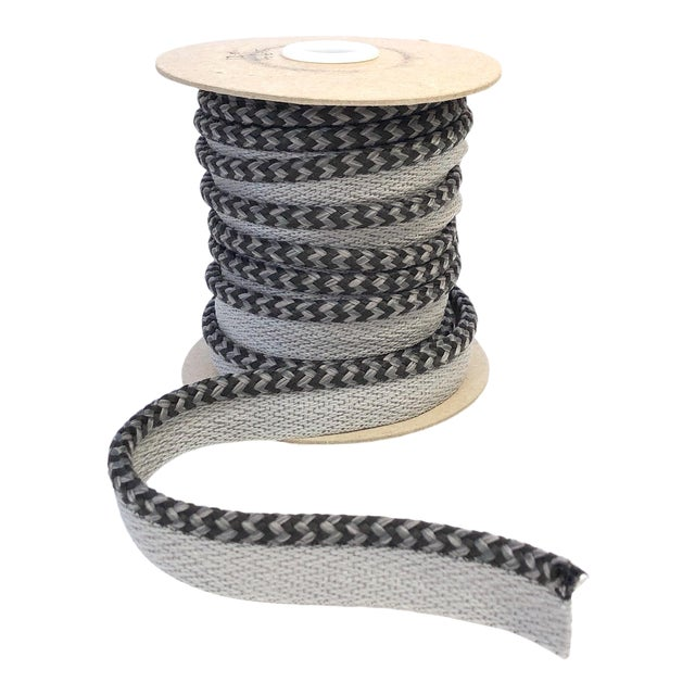 "Braided 1/4"" Indoor/Outdoor Cord in Charcoal & Gray For Sale"