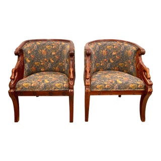 French Empire Style Winged Swan Tub Chairs - A Pair For Sale
