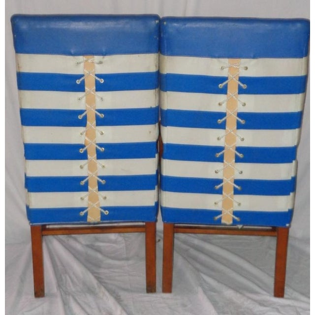 Nautical Themed Leather & Canvas Chairs - Set of 4 - Image 6 of 6