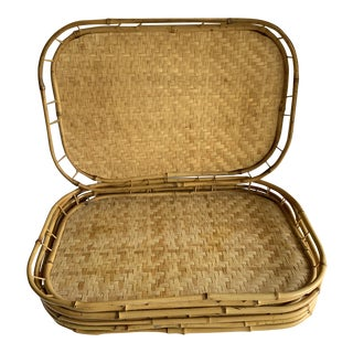Vintage Bamboo Woven Serving Trays, Set of Six For Sale