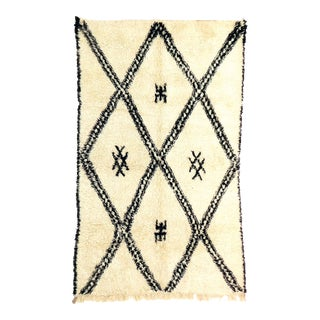 Vintage Moroccan Beni Ourain Rug - 6′6″ × 9′10″ For Sale