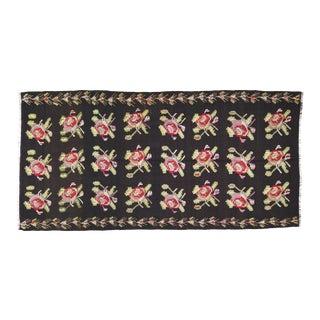 "Vintage Balkan Bessarabian Hand Made Organic Wool Natural Color Floral Kilim,5'3""x10' For Sale"