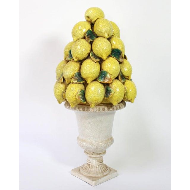 Ceramic Tall Italian Lemon Topiary Majolica For Sale - Image 7 of 7