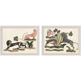 Animals Playing, Set Of 2, Framed Artwork For Sale