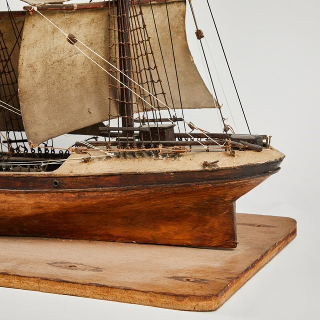 Late 19th Century Handmade Wooden Ship Model From France For Sale - Image 9 of 11
