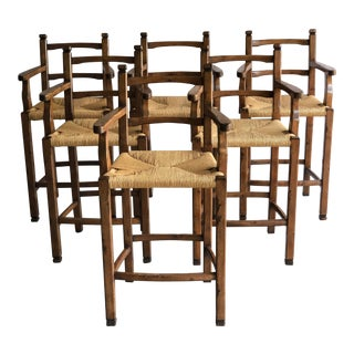 Distressed Wood Barstools- Set of 6 For Sale